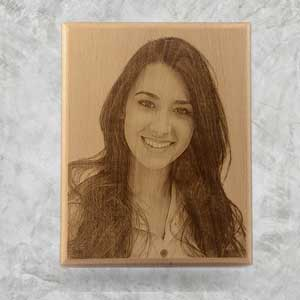 Photo engraved on wooden plaque, Steem Beech timber
