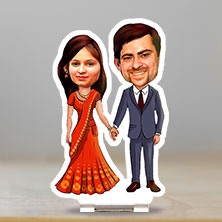 Caricature Couple holding hands