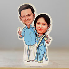 Caricature South Indian Couple