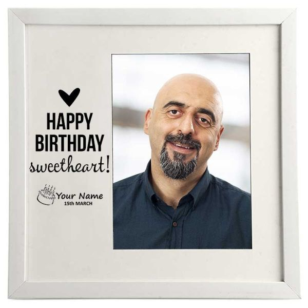 Photo Frame Happy Birthday Sweetheart White