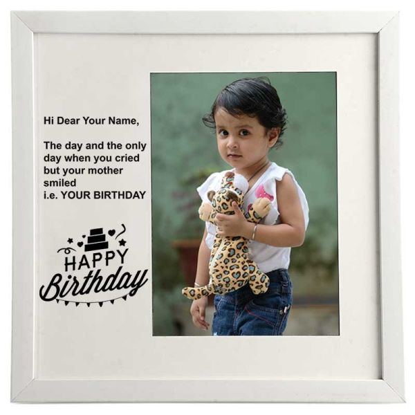 Photo Frame Happy Birthday White